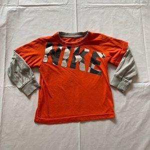 Boys size 3 tea orange Nike long sleeve shirt